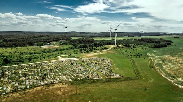 電力生産航空写真用風車
