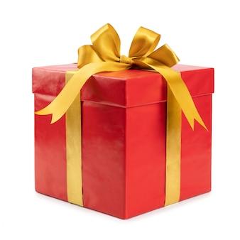 Красный подарок с золотым бантом
