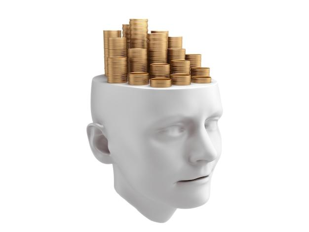 Золотые монеты на скульптуре человеческой головы.