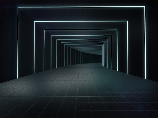Длинный темный интерьер коридора с футуристическим освещением.