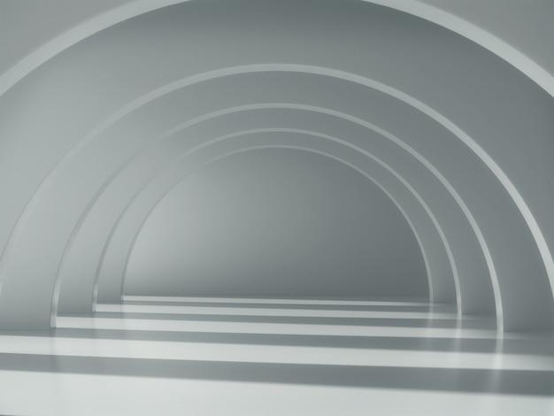 Длинный белый коридор со светом и тенью.