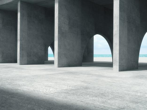 海の空間と長いコンクリートの廊下。