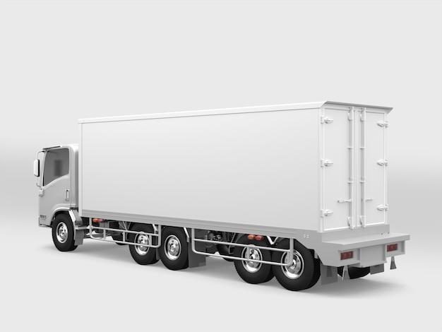 白い背景に白い貨物トラック
