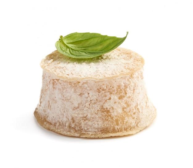 Кроттин с сыром базилик на белом фоне