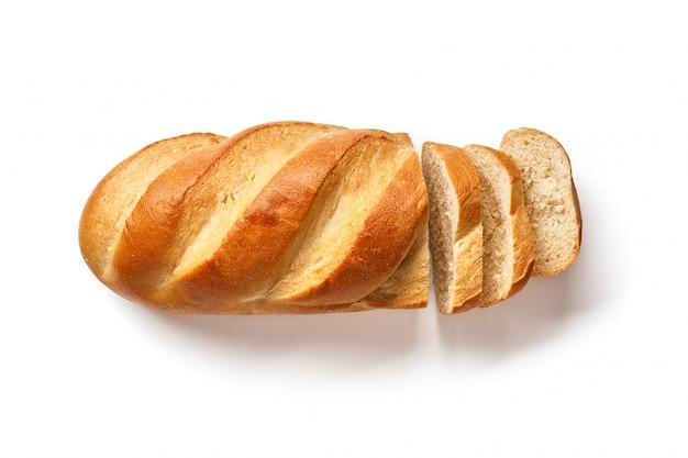 白いスライスされたパン。白で隔離パン
