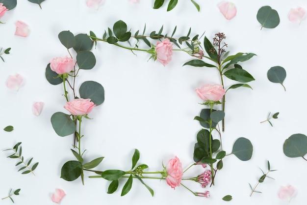 パイ中間子の形をしたバラとユーカリの葉の新鮮な枝と白い背景、フラット横たわっていて、トップビューで分離された花のフレーム