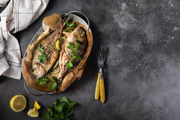 ドラド魚のグリル、レモンドパセル