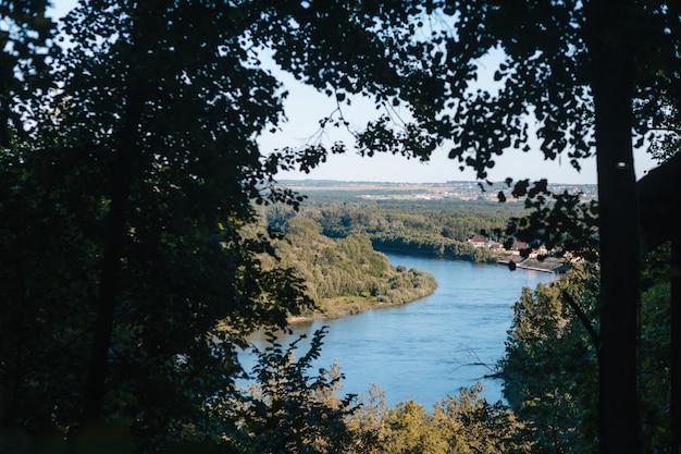遠くから山と川のぼかしの景色を望む菜園、背の高い草と木と川の土手のビュー。