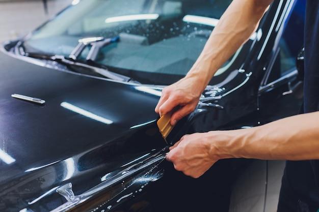 Прозрачная пленка, защита автомобильной краски, специальная упаковка.