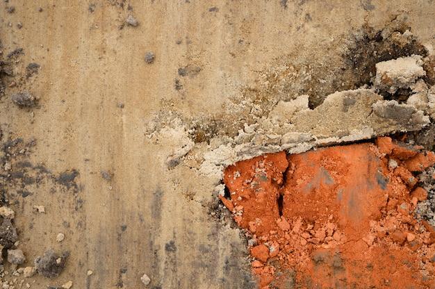 背景としての地面と砂のテクスチャ表面、上面図