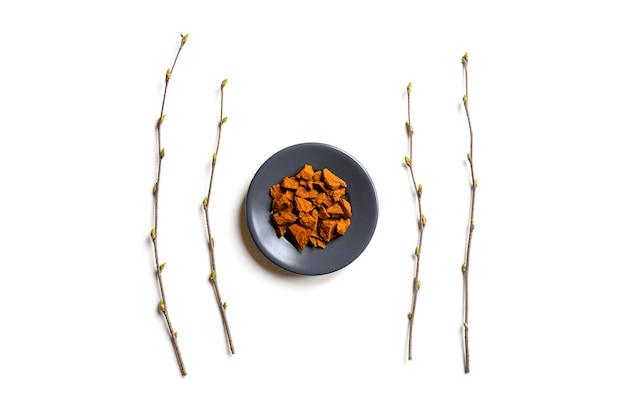 Чага гриб. композиция из мелких сухих кусочков березы древесного гриба чага в круглую тарелку и березовые веточки, изолированных на белом. концепция альтернативной натуральной медицины