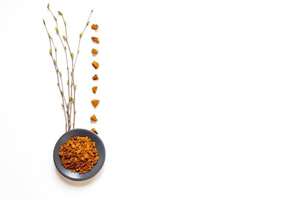 チャガキノコ。白い背景の上の芽の分離とボウルまたはプレートとバーチの小枝でバーチ菌チャガの作品の組成物。