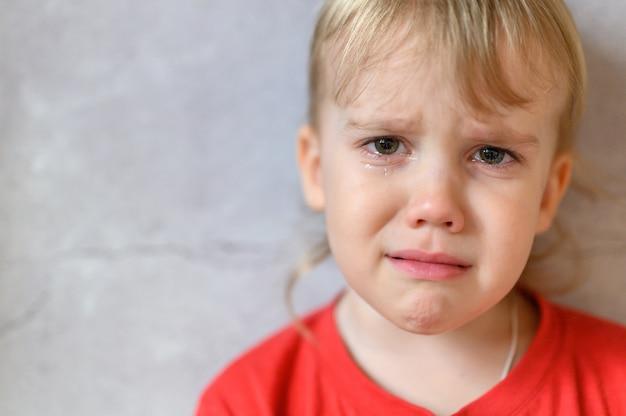 Маленький белокурый малыш мальчик плачет