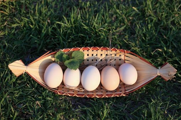 Куриные яйца лежат в деревянной тарелке на зеленой траве. пасхальная концепция