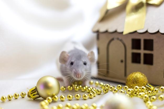 Маленькая крыса сидит возле миниатюрного дома рядом с золотыми елочными украшениями
