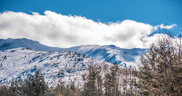 冬の雪の山のシーンの素晴らしい景色の風景の背景