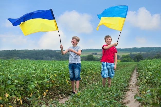 男の子の手の中のウクライナの旗。子供たちは風に手を振っている黄色と青のウクライナのフラグを保持しています。ウクライナの独立記念日。旗の日。