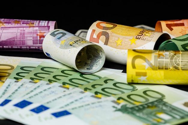 ユーロ紙幣。浅いフォーカス。