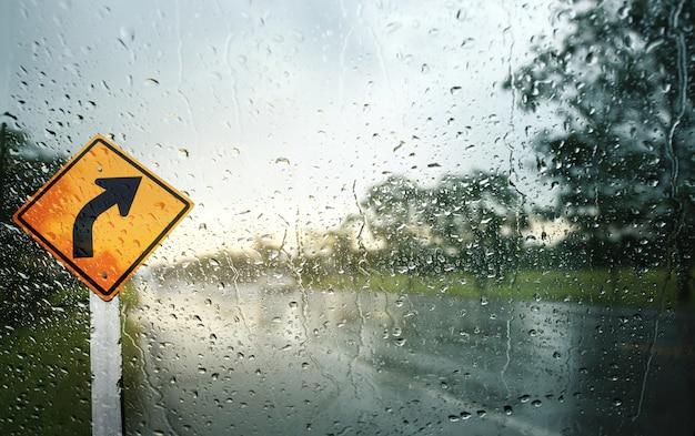 雨の日の風防、交通標識、浅い被写し界深度の構成を表示します。