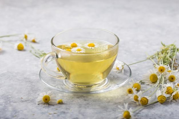 カモミールの花とガラスのティーカップでカモミールティー