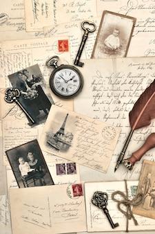 古いポストカード、手紙、写真