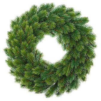 白い背景に分離された緑のクリスマスリース
