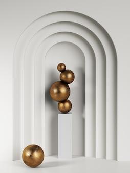 インテリアのスタンドに黄金の抽象的な彫刻