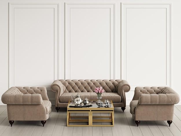 Классический интерьер в пастельных тонах. диван, кресла, стол с декором. стены с лепными украшениями. макет, копия пространства. цифровая иллюстрация.