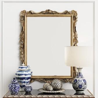 Классическое зеркало с декором в интерьере