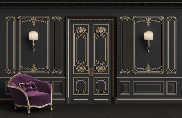 Классическое кресло в классическом интерьере с копией пространства
