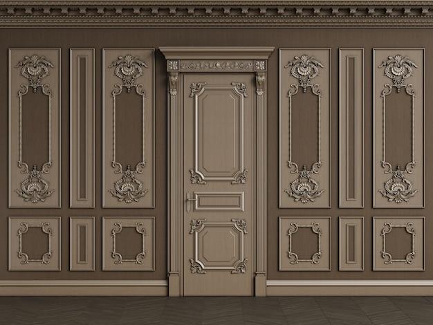 Классический интерьер с деревянным боизерием с копией пространства