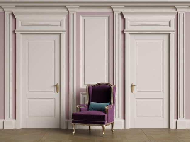 Классический стул в интерьере с копией пространства