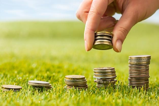 Колонны монет на траве