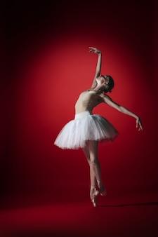 若い優雅な女性バレエダンサーまたは赤いスタジオで踊る古典的なバレリーナ。