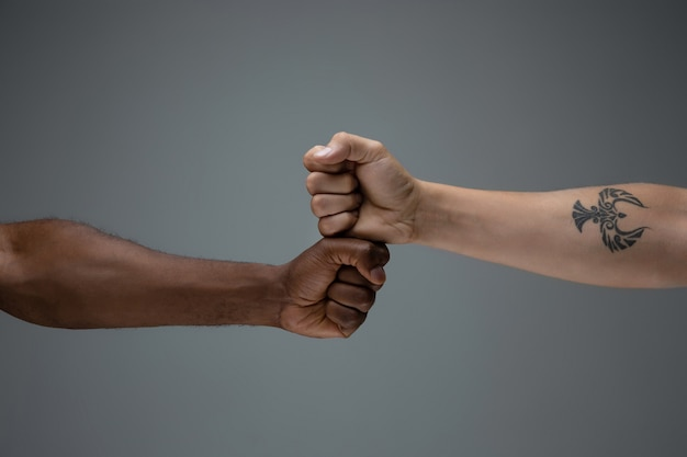 人種的寛容。社会的団結を尊重する。グレーに分離されたアフリカと白人の手ジェスチャー