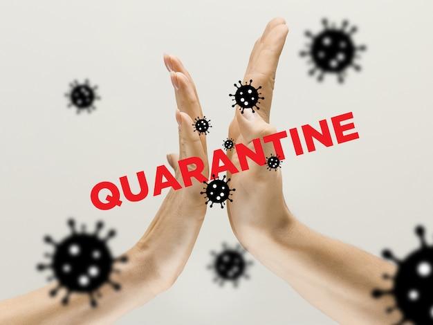 人間の手が揺れ、コロナウイルスの流行中に挨拶を避けます