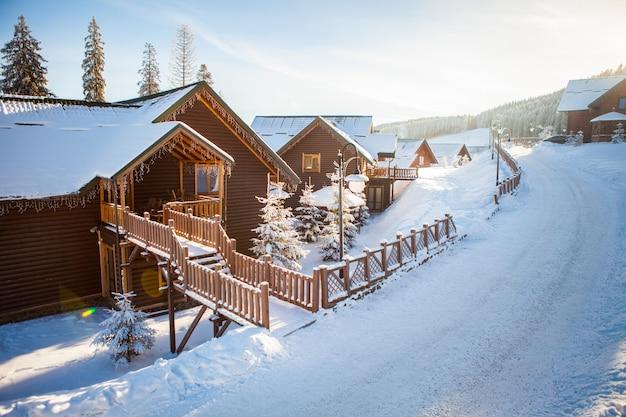 美しい雪山、森林の眺め