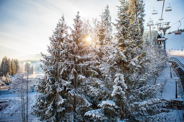 Лыжники на подъемнике едут на горнолыжном курорте