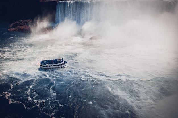 ナイアガラの滝で観光客とボート
