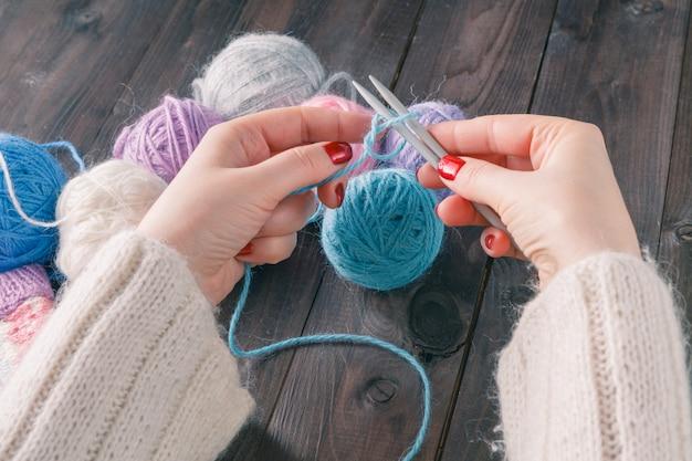 手編みのクローズアップ