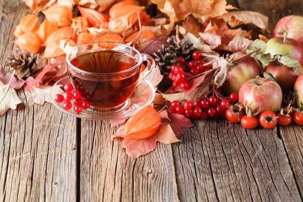 素朴な木の空間で秋のお茶