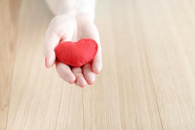 手の中の心、女性は手作りのぬいぐるみを保持