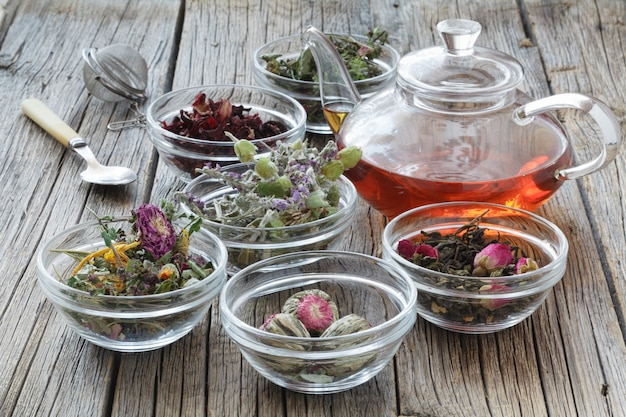 漢方薬、植物療法薬草。注入、煎じ薬、チンキ剤、粉末、軟膏、お茶の準備用。