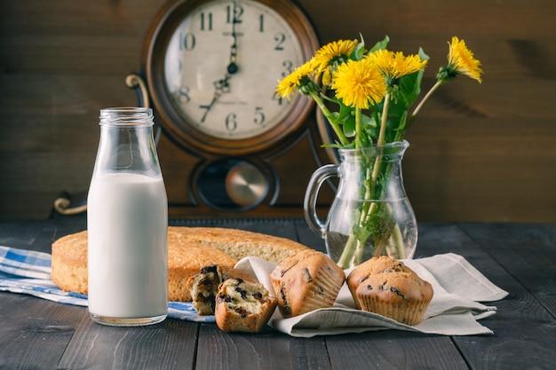Летний завтрак с кексами, молоком и цветами одуванчика