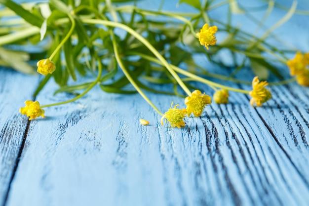 Весной цветочные поверхности с желтыми цветами лютики на синем столе
