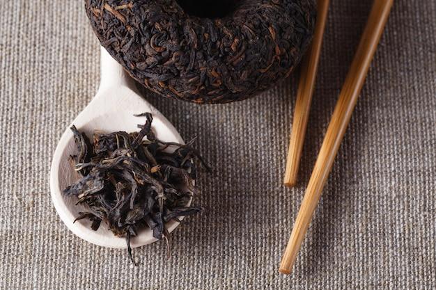中国茶プエル、クローズアップ