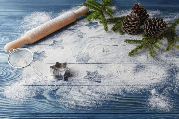 ボード上の小麦粉と星