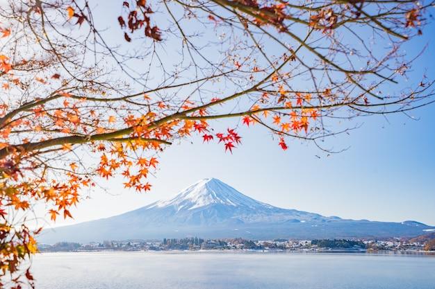 河口湖、秋の紅葉と赤い葉を持つ秋の季節と山の富士