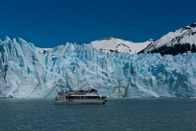 氷河ペリトモレノの前でボート