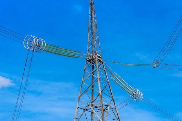 空を背景にした高圧送電線